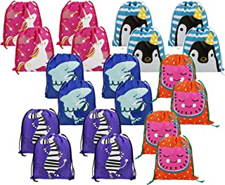 Party-Favors-Bags-for-Kids Girls Boys Birthday Favor Gift Drawstring Goodie Bag Candy Pouch Treat Goody Bags 20 Pack 5 Designs
