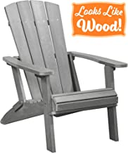 PolyTEAK Modern Oversized Folding Poly Adirondack Chair, Stone Gray | Adult-Size, Weather Resistant, Made from Plastic