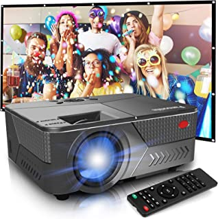 Pansonite Mini Projector with High Brightness Support 1080P and 200'' Display,Portable Projector Compatible with TV Stick/...