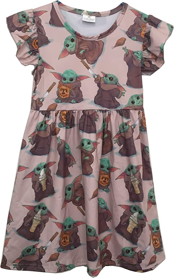 Baby Girl Spring Summer Flutter Pearl Dress for Baby Yoda Birthday Party Children toddles Boutique Dress
