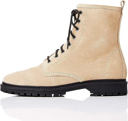 Amazon-Marke  find. Lace Up Leather Damen Biker Stiefel