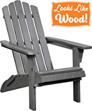 PolyTEAK Classic Folding Poly Adirondack Chair, Stone Gray | Adult-Size, Weather Resistant, Made from Plastic