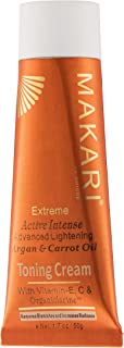 Makari Extreme Carrot & Argan Oil Toning FACE Cream 1.7oz – Lightening, Brightening & Tightening Moisturizer with Organiclarine – Anti-Aging Whitening Treatment for Dark Spots, Acne & Freckles