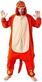 Spooktacular Creations Unisex Adult Pajama Plush Onesie One Piece Orange Dinosaur Animal Costume