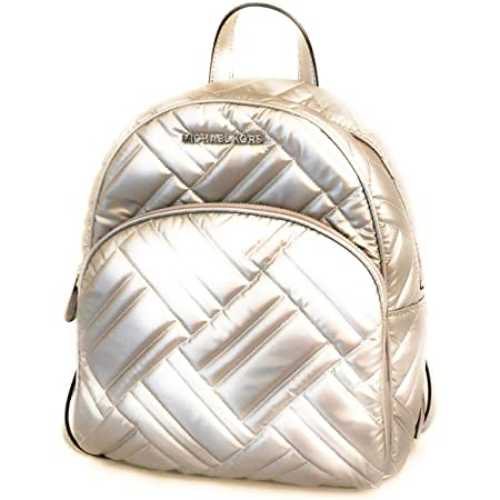 Michael Kors Women's Abbey Medium Leather Quilted Backpack, Silver (One Size)