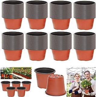 le Potager de Balcon Pots de Fleurs dInt/érieur Avec Palette pour lAmeublement le Jardinage 4 Pi/èces Pots de Plantes en Plastique Color/és Pots de Fleurs Color/és Pots en Plastique Avec Plateau