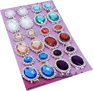 Trendy Flat Round and Oval with Clear Crystal and Color Rhinestones Clip-on Earrings