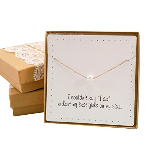 BRIDE DAZZLE Bridesmaid Gifts- Pretty Single Floating Bridal Pearl Necklace, Gold Color, Simulated