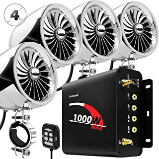 "GoHawk TJ4-Q 1000W 4 Channel Amplifier 4"" Full Range Waterproof Bluetooth Motorcycle.."