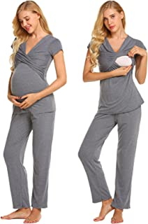 84bea3accbc0a pehie Women s Maternity Nursing Pajama Soft Hospital Sleepwear Set Cotton  Short Sleeve Pregnancy Breastfeeding PJ S