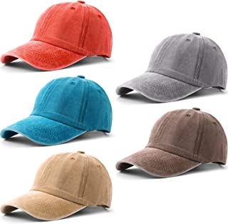 5 Pieces Unisex Vintage Washed Distressed Baseball Hat Baseball Cap Twill Adjustable Dad Hat