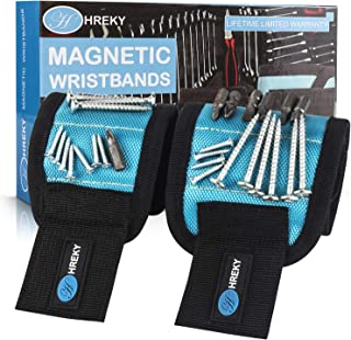 Magnetic Wristband, Hreky 2 Sizes Set Magnetic Wristband with 15 Strong Magnets for Holding Screws Nails Drill Bits-Best DIY Tool for Fathers/Him/Men/Husband/Dad/Boyfriend and Anyone (Blue)
