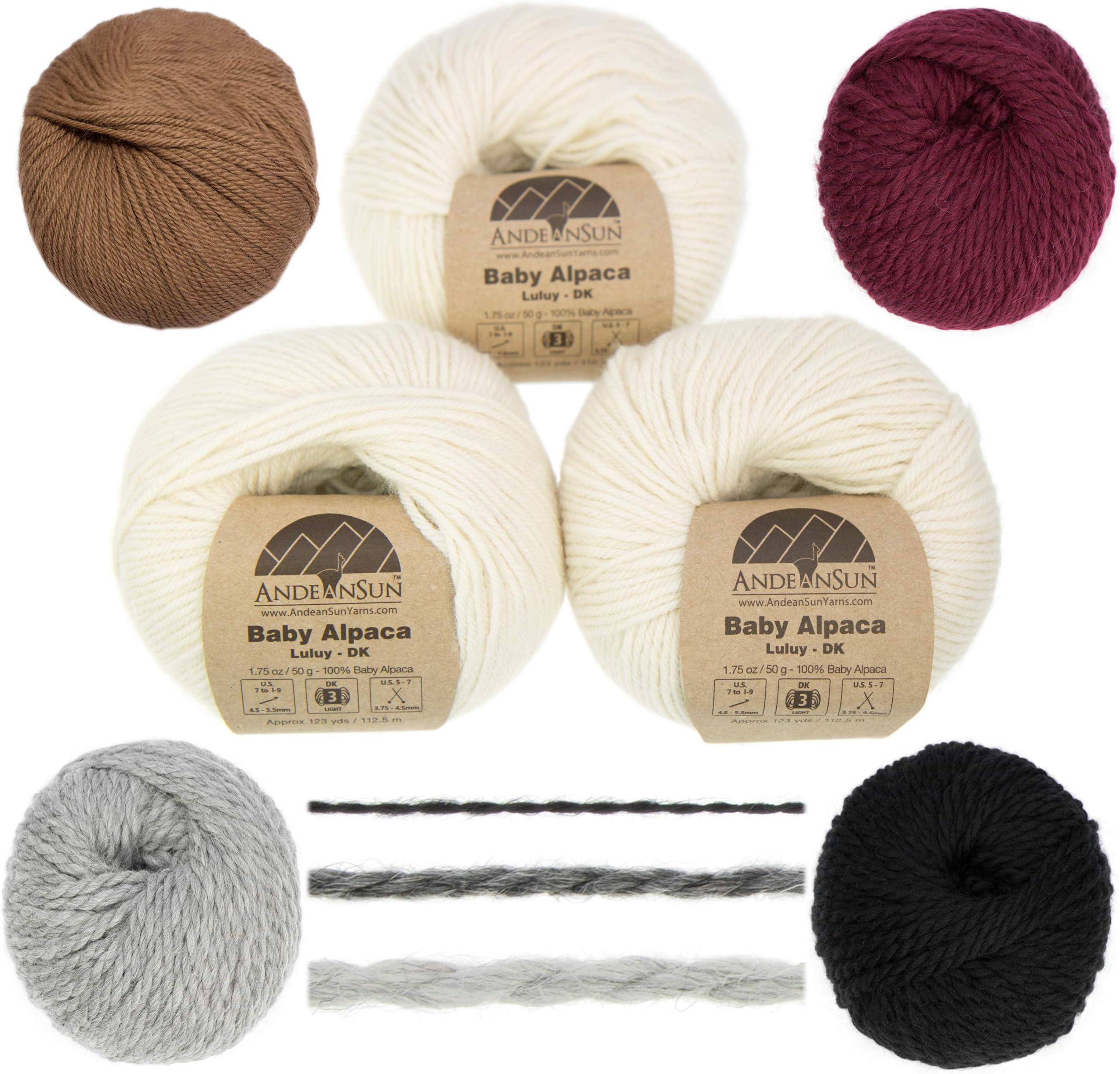 Lot of 10 Skeins of 100/% Baby Alpaca Yarn Luxurious Wool Indiecita DK 50G