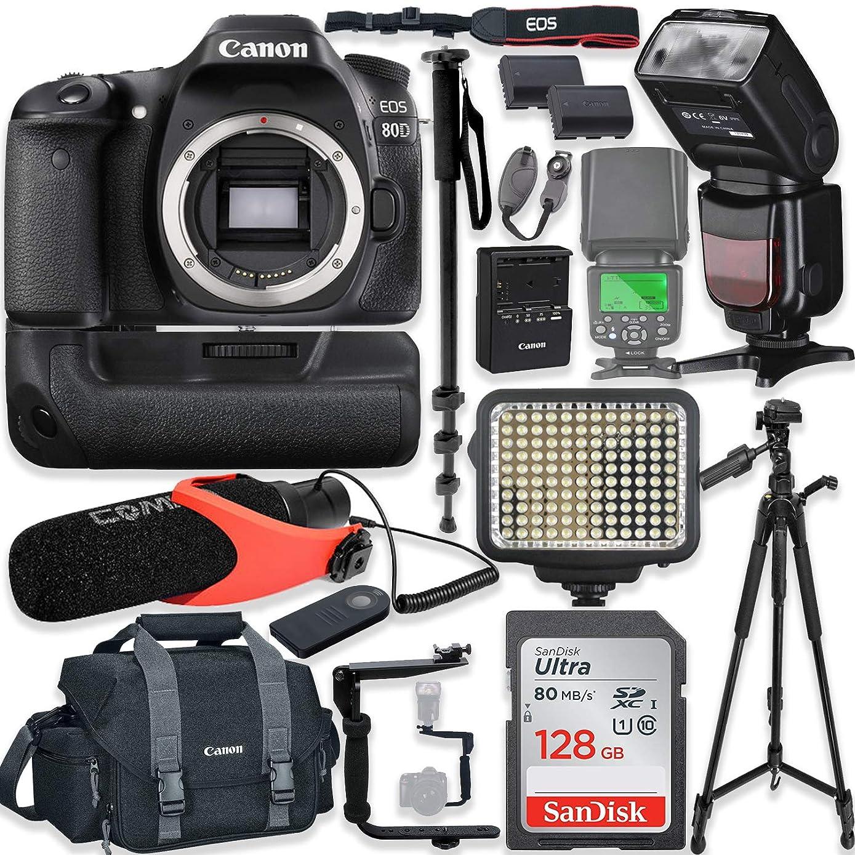 Canon EOS 80D DSLR 相机机身专用套件带 Pro Photo & 视频配件,包括 128GB 内存、Speedlight TTL 闪存、电池手柄、LED 灯、冷凝器麦克风、152.4 厘米三脚架等