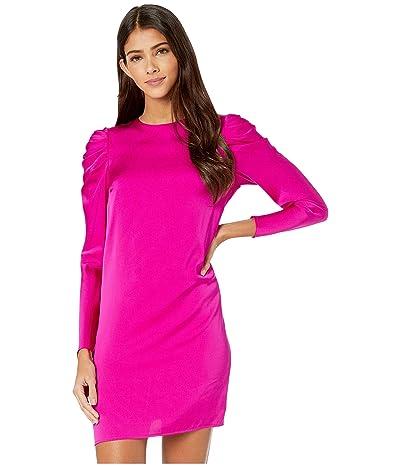 Milly Stretch Silk Carina Draped Long Sleeve Dress (Fuchsia) Women
