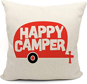 Mancheng-zi Happy Camper Throw Pillow Case, Gift Camper, Trailer Decor, Camper Decor, 18 x 18 Inch red Camper Decorative Cotton Linen Cushion Cover for Sofa Couch Bed