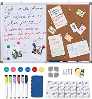 Magicfly Magnetic Cork/Dry Erase Combo Board, 36 x 24 Inch Whiteboard with 6 Water Based Markers, 6 Magnets, 1 Magnetic Eraser, 20 Push Pins, Use as Presentation, Bulletin, Memo Board, 1 Pack