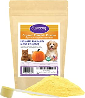 Raw Paws Pet Organic Pure Pumpkin for Dogs & Cats, Powder – Fiber for Dogs..