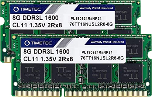 Timetec Hynix IC 16GB Kit(2x8GB) DDR3 1600MHz PC3-12800 Non ECC Unbuffered 1.35V CL11 2Rx8 Dual Rank 204 Pin SODIMM L...