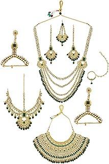 Zaveri Pearls Bridal Necklaces Earring Mathapatti Passa Ring Bracelets & Nosering Set For Women-ZPFK10839