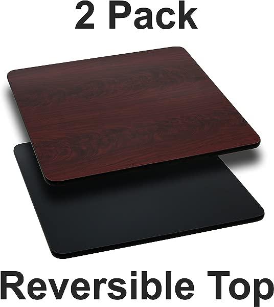 Flash Furniture 2 Pk 36 Square Table Top With Black Or Mahogany Reversible Laminate Top