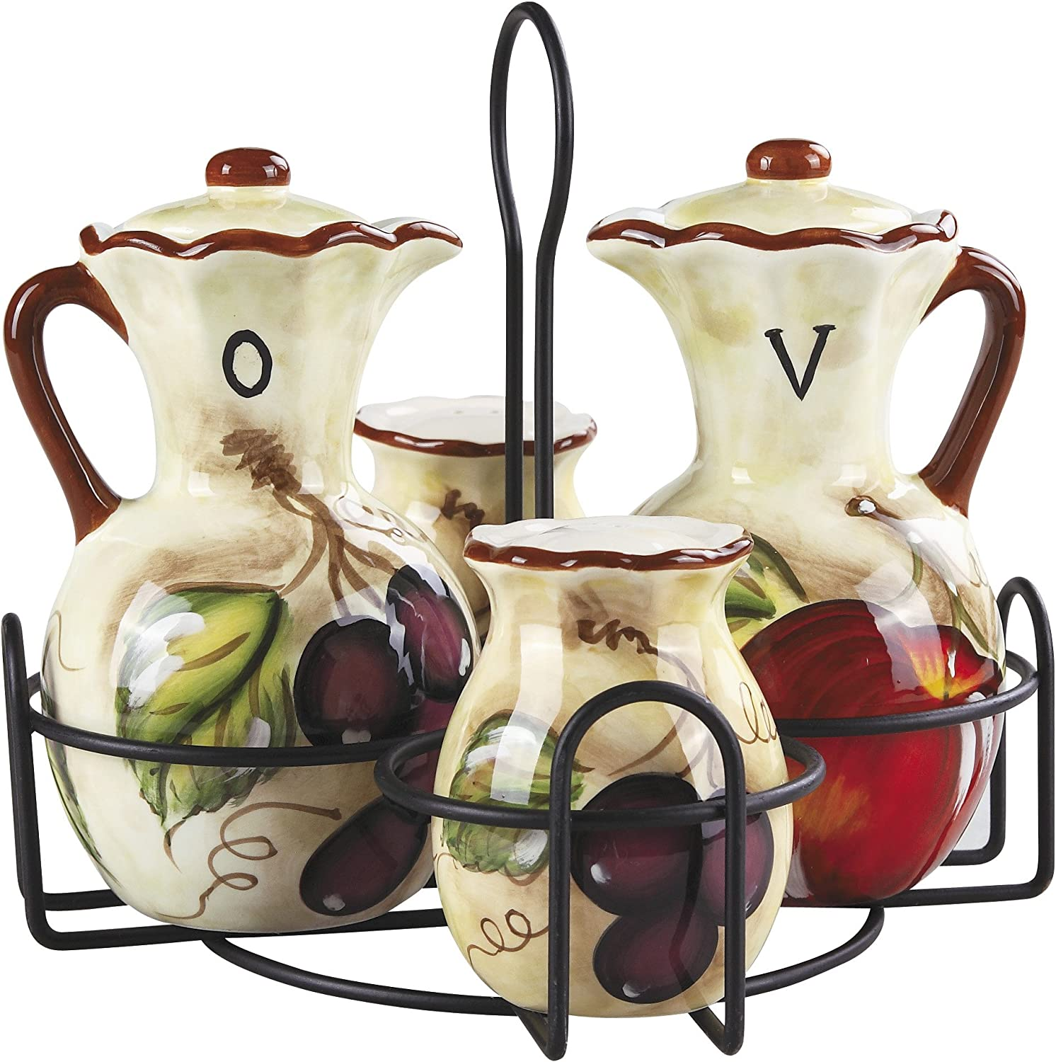 Lorren Home Trends Hazel Collection Genuine Condiment with Trust Stand Set