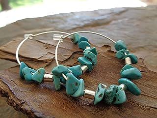 ★ CREOLS con orecchini TURCHESE ★ fatti di schegge di pietra