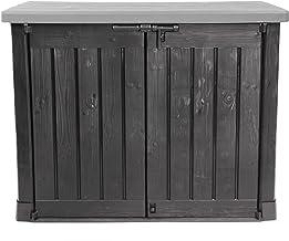 Ondis24 Keter Max Gartenbox Möbelbox Mülltonnenbox Gerätebox Schuppen für 2 x 240 Liter Mülltonnen (schwarz - grau) für de...