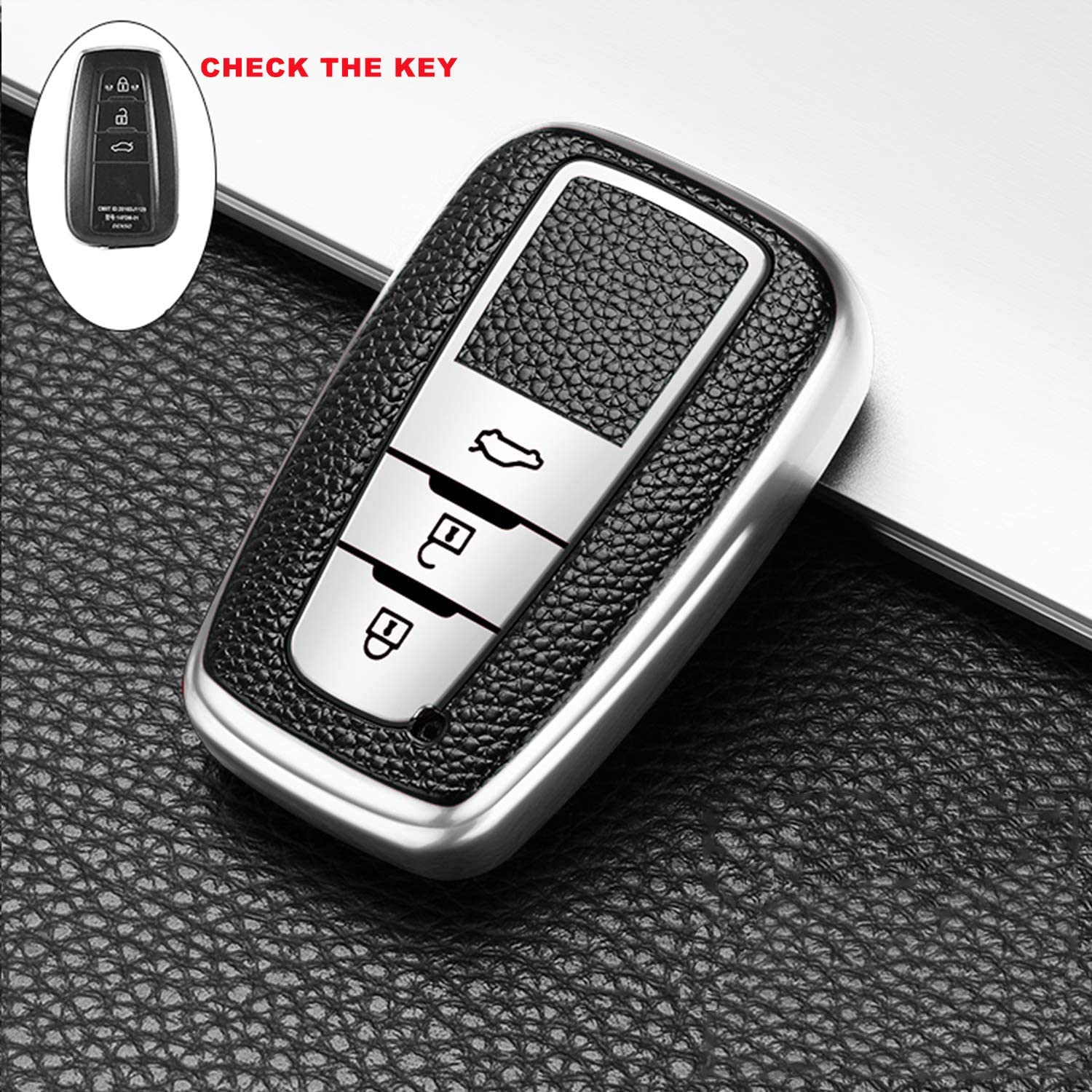 DEWEST Auto Parts Car Key Fob Cover Case for BMW Leather Keyring Zipper Bag and Keychain Cover for Remote Key Fob