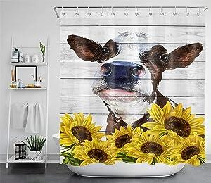 ECOTOB Cow and Sunflower Shower Curtain Farmhouse Cow Bathroom Curtain Farm Animal Rustic Shower Curtain for Bathroom Cute Bath Curtains Bathtub Decor Accessories 12 Hooks 69X70 Inch