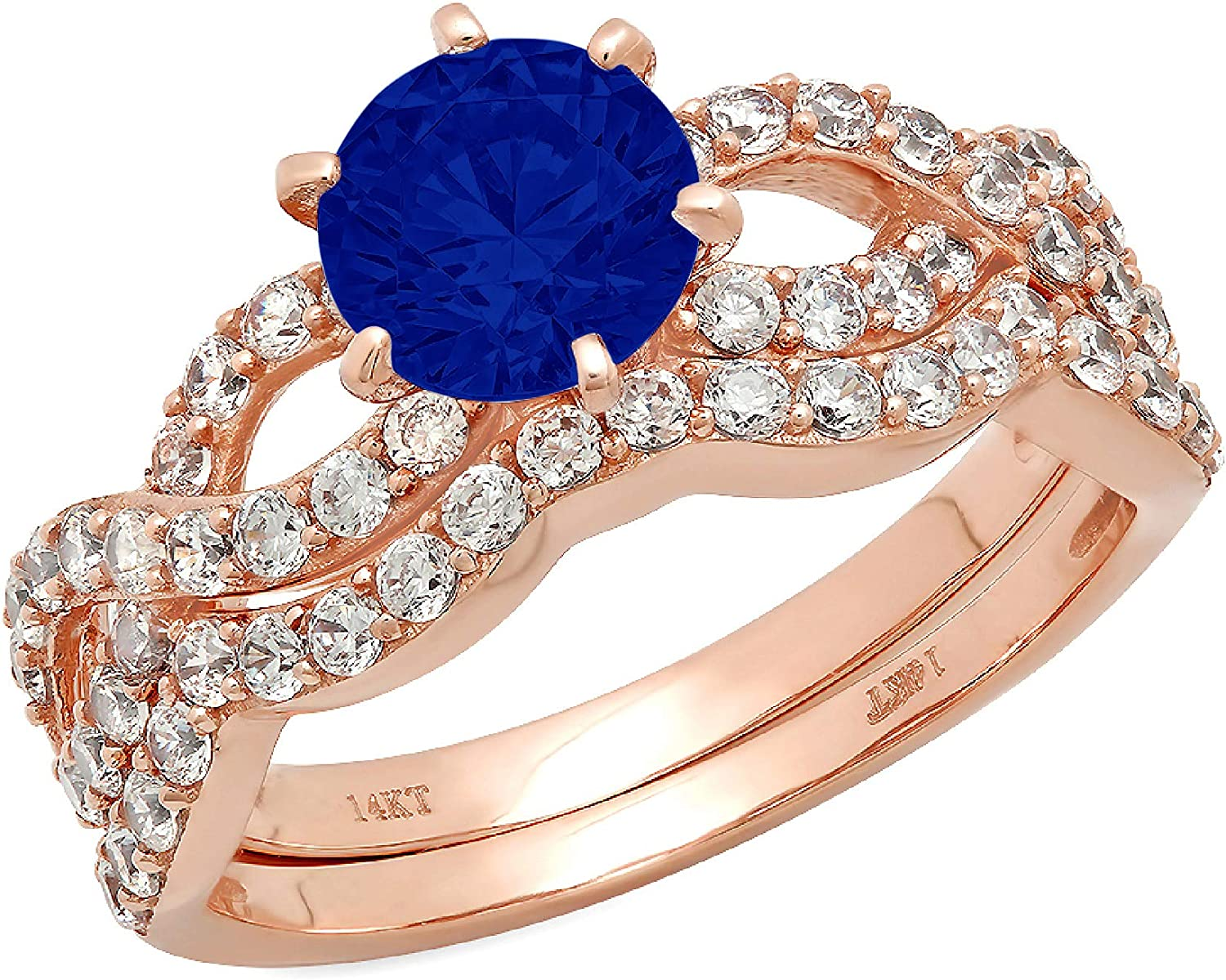 1.49ct Round Cut Halo Pave Solitaire Split Shank Accent Ideal Flawless Simulated CZ Blue Sapphire Engagement Promise Designer Anniversary Wedding Bridal ring band set Curved 14k Rose Gold