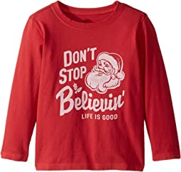 Life is Good Kids - Don't Stop Believin' Santa Long Sleeve Crusher Tee (Toddler)