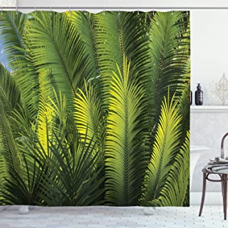 Ambesonne Palm Tree Shower Curtain, Plam Tree Foliage Tropical Plants Leaves Forest Theme Exotic Natural Beauty Image, Cloth Fabric Bathroom Decor Set with Hooks, 70