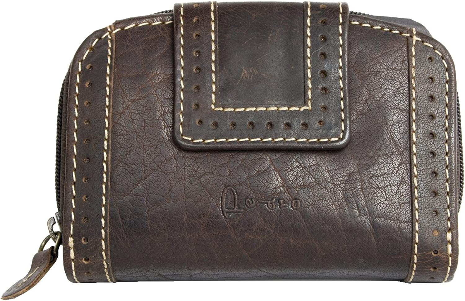 Dark Brown Medium Sized Strong Leather Wallet Pedro Whole Made of Natural Genuine Leather