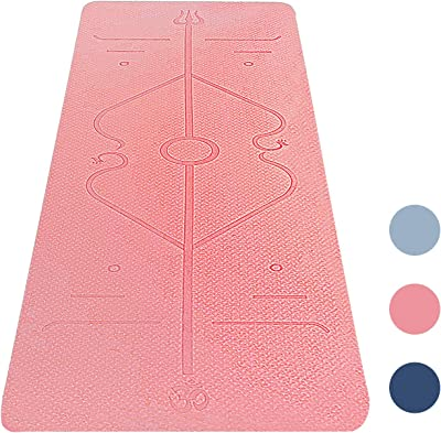 "Junxia Yoga Mat,Eco Friendly TPE High Density Non-Slip, Anti-Tear Yoga Mats by SGS Certified,72""x24"" Extra Thick 1/4"" with Position Line for Yoga Pilates Fitness Exercise"