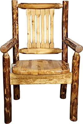 Montana Woodworks MWGCCASCN Glacier Country Collection Captain's Chair with Ergonomic Wooden Seat