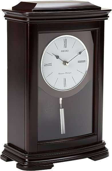 Seiko Dark Brown Mantel Clock With Chime And Pendulum
