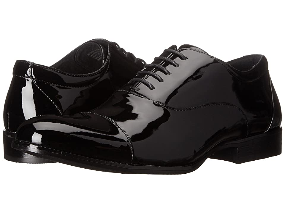 1920s Style Mens Shoes | Peaky Blinders Boots Stacy Adams Gala Black Patent Mens Lace Up Cap Toe Shoes $65.00 AT vintagedancer.com