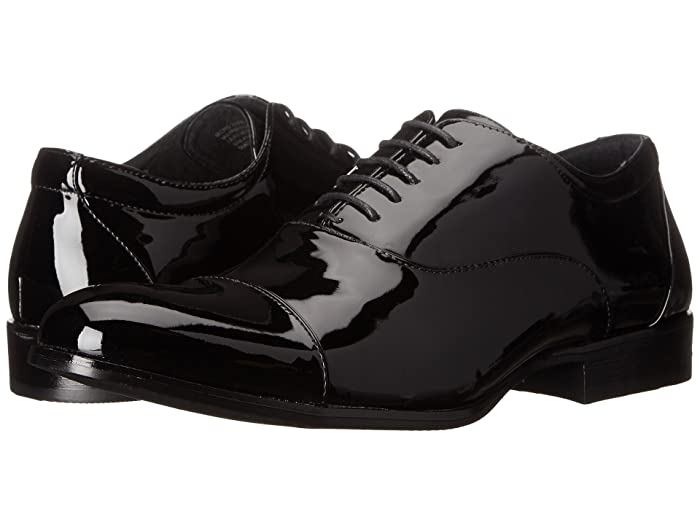 1920s Fashion for Men Stacy Adams Gala Cap Toe Oxford Black Patent Mens Lace Up Cap Toe Shoes $58.33 AT vintagedancer.com