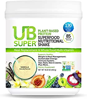 UB Super - Meal Replacement - Protein Superfood Nutritional Shake - Vegan, Gluten Free, Non GMO, No Added Sugar, Nutrient ...