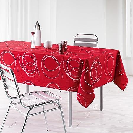 L'Harmonie du Décor 1721577 Nappe Imprimé Argent Bully Polyester Rouge 240 x 150 x 240 cm