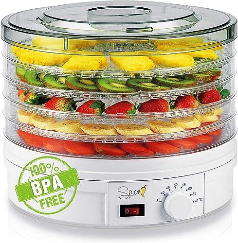 Spice Teseko Déshydrateur pour aliments, comprend 5compartiments ajustables et un bouton pour régler la température ...
