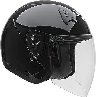 Vega Helmets VTS1 Open Face Motorcycle Helmet with Inner Sunshield – DOT Certified Full Face Shield & Visor Motorbike Helmet for Cruisers Street Bike Scooter Touring Moped Moto (Black, X-Small)