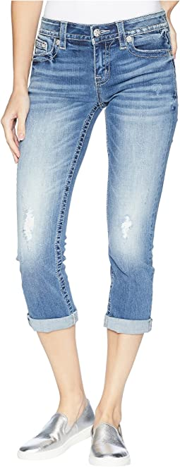Fleur De Lis Capri Jeans in Medium Blue