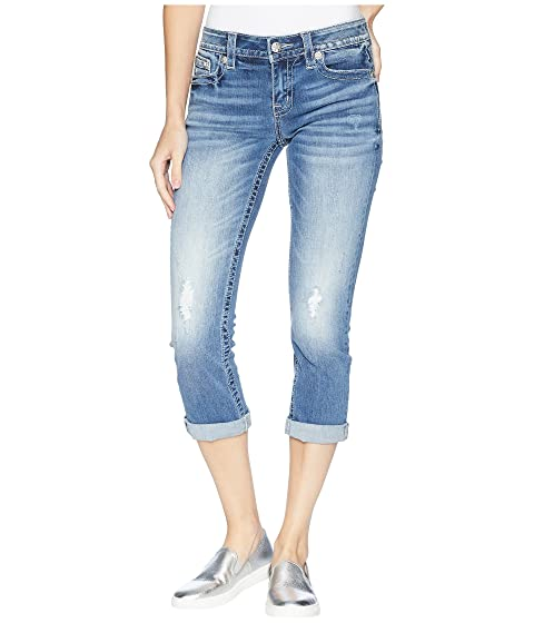 MISS ME Fleur De Lis Capri Jeans In Medium Blue, Medium Blue