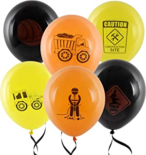 """36 Construction Balloons 12"""" Latex Balloon Yellow and Black Construction Zone Builder Balloon For Kids Birthday Party Favor Supplies Decorations by Gift Boutique"""