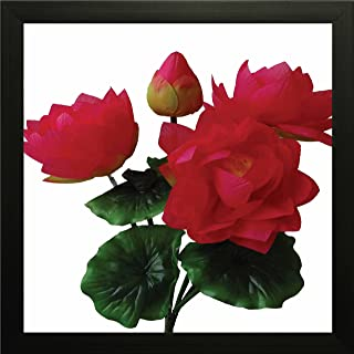 Printelligent Red Bunch of Lotus Flower Framed Wall Art Painting for Living Room and Bedroom (Wood, 10 Inch x 10 Inch)