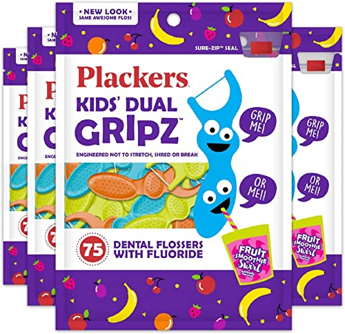 Plackers Kids Flossers, 75 Count (Pack of 4)