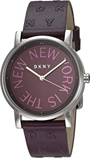 DKNY Women's Soho Stainless Steel Quartz Watch with Leather Strap, Purple, 18 (Model: NY2762)