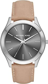 Michael Kors Men's Slim Runway Stainless Steel Quartz Leather Strap, Brown, 22 Casual Watch (Model: MK8619)